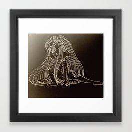 Girl On Black Framed Art Print