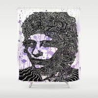 dylan Shower Curtains featuring Bob Dylan by Travis Poston