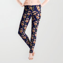 Cosmos flowers in red and blue Leggings