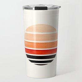 Burnt Sienna Minimalist Mid Century Modern Watercolor Stripes Sunset Circle Abstract Pattern Travel Mug