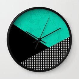 Geometric Green And Black Wall Clock