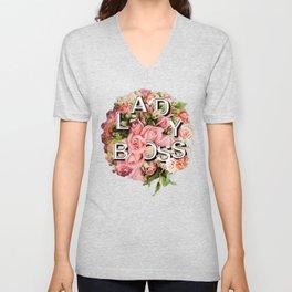 Lady Boss Floral Bouquet Unisex V-Neck