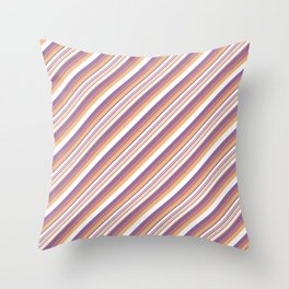 Orchid Indigo Beige Inclined Stripes Throw Pillow