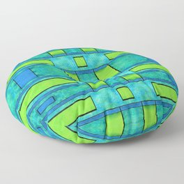 Painted blue and green parallel bars Floor Pillow