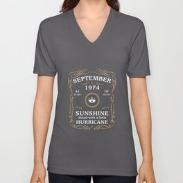 September 1974 Sunshine mixed Hurricane Unisex V-Neck