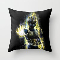 dbz Throw Pillows featuring The Prince of all fighters by Barrett Biggers