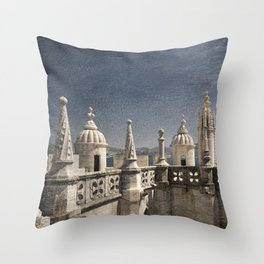 Monochrome treatment of the turrets at the Torre de Belem in Lisbon Throw Pillow