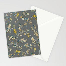 vintage floral vines - greys & mustard Stationery Cards
