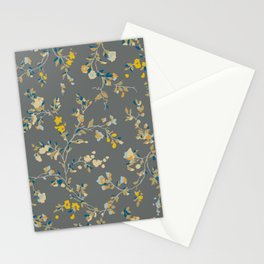 vintage floral vines - greys & mustard Stationery Cards