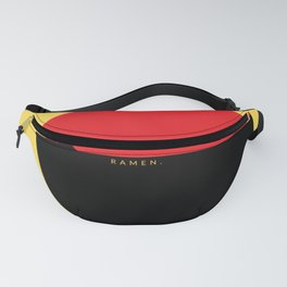 Ode to Ramen, black and red on yellow Fanny Pack