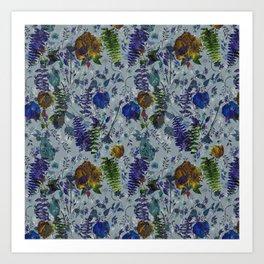 Bleu Foliage Art Print