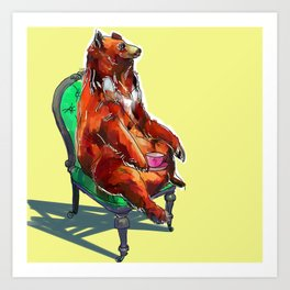 animals in chairs #20 The Bear at Tea Art Print