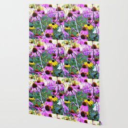 Yellow Flowers in the Purple Coneflower Garden Wallpaper