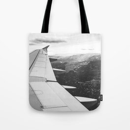 Mountain State // Colorado Rocky Mountains off the Wing of an Airplane Landscape Photo Tote Bag