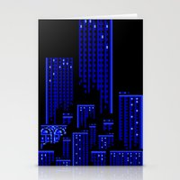 cityscape Stationery Cards featuring Cityscape by Something Funny Is Happening