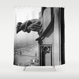 Gargoyle over looking the Main River, Frankfurt, Germany black and white photograph - photography by Karl Lämmel Shower Curtain