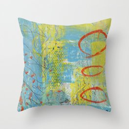 abstract 1 orange rising Throw Pillow