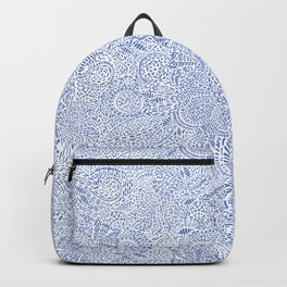 Blue and White Dash Paisley Pattern Backpack
