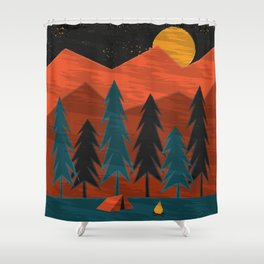Camping Under a Harvest Moon Shower Curtain