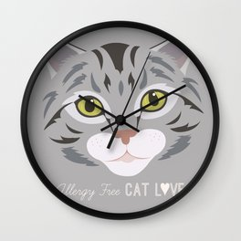 Allergy Free Cat Love: Silver Tabby Wall Clock