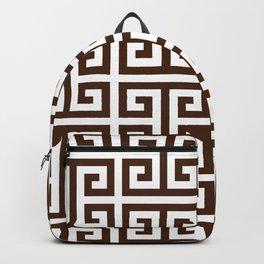 Dark Brown and White Greek Key Pattern Backpack