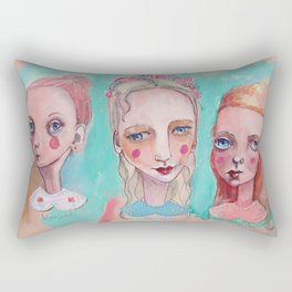 White, Blue and Pink Collared Rectangular Pillow