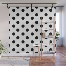 White & Black Polka Dots Wall Mural