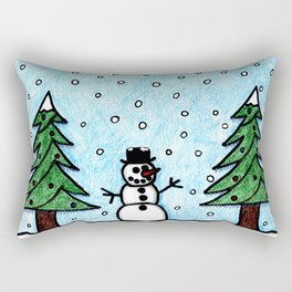 Snowman Greetings Rectangular Pillow