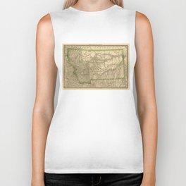 Vintage Map of Montana (1881) Biker Tank