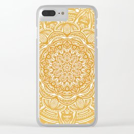 Golden Mustard Yellow Orange Ethnic Mandala Detailed Clear iPhone Case