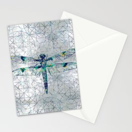 Gemstone Dragonfly on sacred geometry pattern Stationery Cards