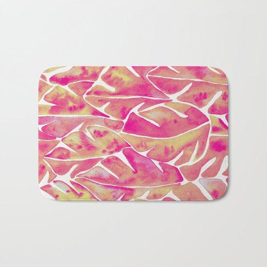 Split Leaf Philodendron – Pink Bath Mat