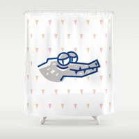 crocodile Shower Curtains featuring crocodile by Eolia