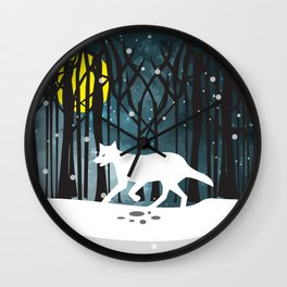 White Wolf at Midnight Wall Clock