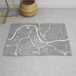 Grey City Map of Nashville, Tennessee Rug