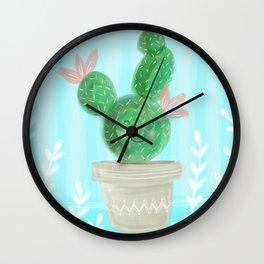 Cute Spring Succulent Cactus Wall Clock