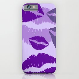 Lips violet pink background iPhone Case
