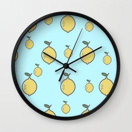 Yellow Lemon & Beautiful Blue Background Wall Clock