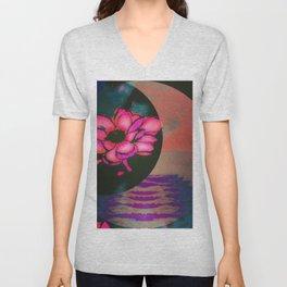 Lotus Crescent Moonshine Pink Unisex V-Neck