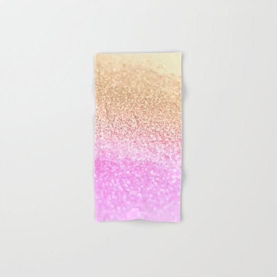 GOLD PINK GLITTER by Monika Strigel Hand & Bath Towel