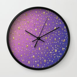 many small golden squares on a delicate rainbow background Wall Clock