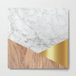 Geometric White Marble - Wood & Gold #884 Metal Print