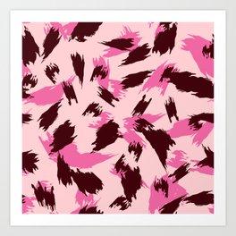Pink and Brown Jagged Animal Print Art Print