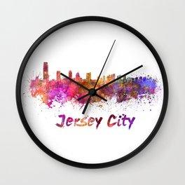 Jersey City skyline in watercolor Wall Clock