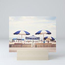Beach Umbrella Photography, Blue White Brown Coastal Art, Beach Summer Photograph, Seashore Print Mini Art Print