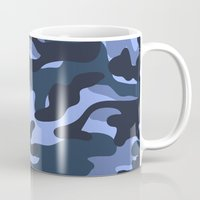 military Mugs featuring Blue Military Camouflage Pattern by SW Creation