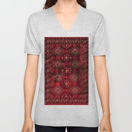 Heritage Royal Red Oriental  Traditional Moroccan Style Design  Unisex V-Neck