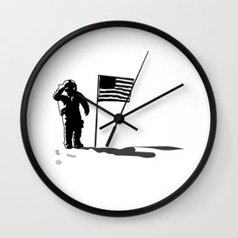 First man on the moon US flag salutation Wall Clock