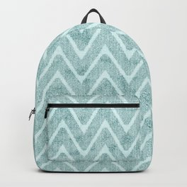 Faux Suede Pale Turquoise Chevron Pattern Backpack
