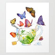 Butterfly Tea Art Print